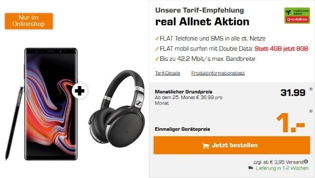 Samsung Galaxy Note 9 + Sennheiser HD 4.50 + Vodafone real Allnet (mobilcom-debitel) bei Saturn