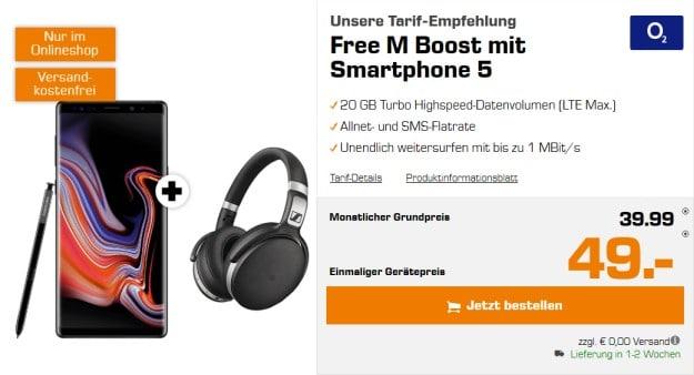 Samsung Galaxy Note 9 Sennheiser HD 4.50 BTNC + o2 Free M Boost bei Saturn