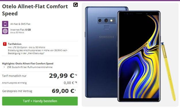 Samsung Galaxy Note 9 + otelo Allnet-Flat Comfort LTE 50 bei talkthisway