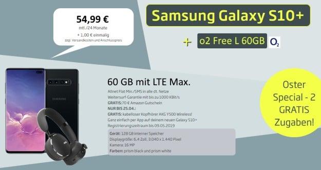 Samsung Galaxy S10 Plus + AKG Y500 Bluetooth-Headset + o2 Free L Boost bei CURVED