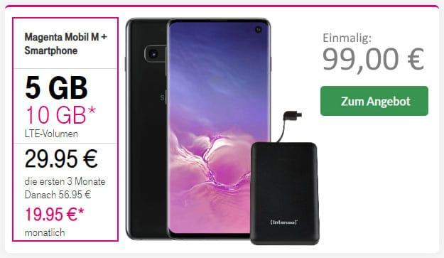 Samsung Galaxy S10 + Intenso Slim S5000 Powerbank +6 Telekom Magenta Mobil M bei Preisboerse24
