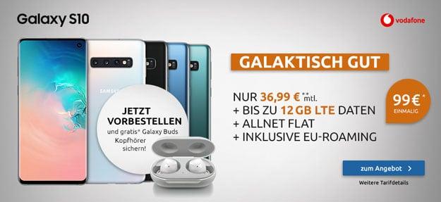 Samsung Galaxy S10 + Samsung Galaxy Buds + Vodafone Smart L Plus bei LogiTel