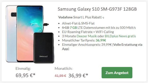 Samsung Galaxy S10 + Intenso Slim S5000 Powerbank + Vodafone Smart L Plus bei Preisboerse24