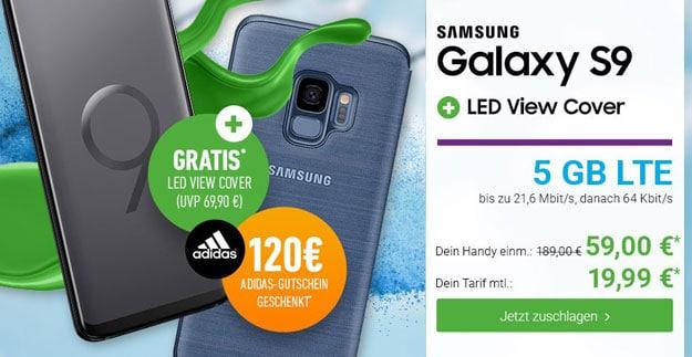 Samsung Galaxy S9 + Samsung LED View Cover + Blau Allnet XL bei DeinHandy
