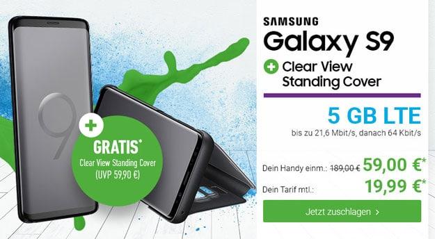 Samsung Galaxy S9 + Samsung Clear View Standing Cover + Blau Allnet XL bei DeinHandy