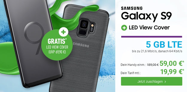 Samsung Galaxy S9 + Samsung LED View Cover + Blau Allnet XL bei DeinHandy
