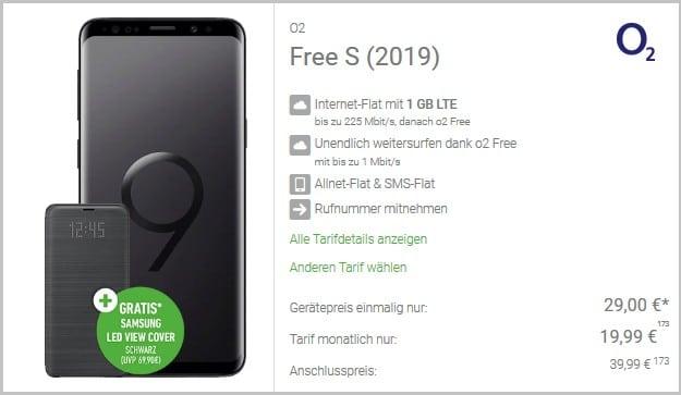Samsung Galaxy S9 + Samsung LED View Cover + o2 Free S bei DeinHandy