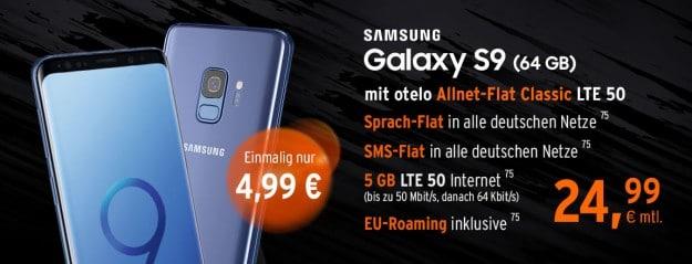 Samsung Galaxy S9 + otelo Allnet-Flat Classic LTE 50 bei FLYmobile