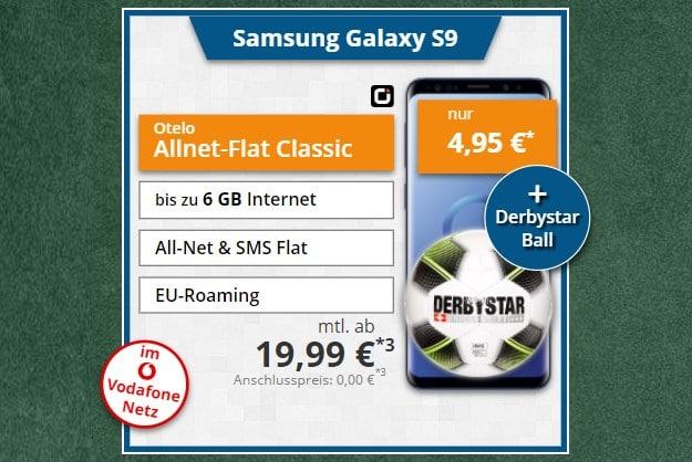 Samsung Galaxy S9 + Derbystar Fußball + otelo Allnet-Flat Classic bei Tophandy