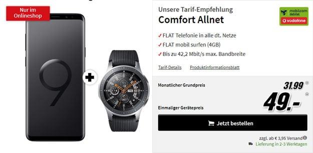 Samsung Galaxy S9 Plus + Samsung Galaxy Watch LTE + Vodafone Comfort Allnet (mobilcom-debitel) bei MediaMarkt