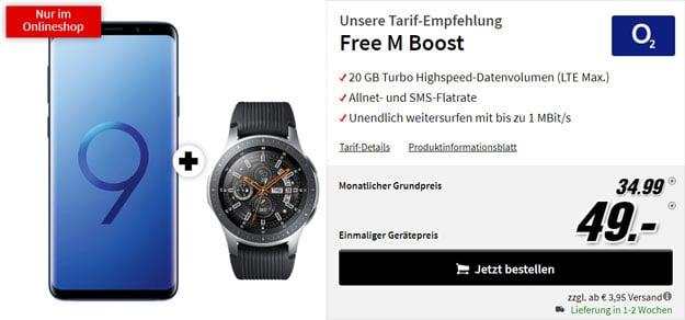 Samsung Galaxy S9 Plus + Samsung Galaxy Watch + o2 Free M Boost bei MediaMarkt