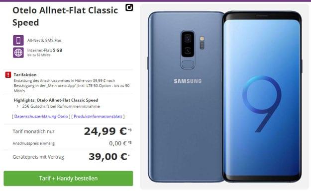 Samsung Galaxy S9 Plus + otelo Allnet-Flat Classic LTE 50 bei talkthisway