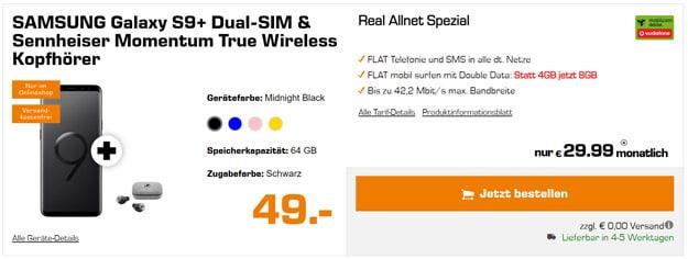 Samsung Galaxy S9 Plus + Sennheiser Momentum True Wireless + Vodafone real Allnet (md)