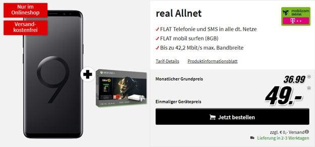 Samsung Galaxy S9 Plus + Xbox One X (1TB) Fallout '76 Limited Bundle + mobilcom-debitel real Allnet (Telekom-Netz) bei MediaMarkt