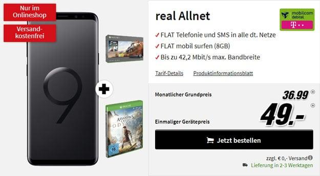Samsung Galaxy S9 Plus + Xbox One X (1TB) Forza-Bundle + Assassins Creed Odyssey + mobilcom-debitel real Allnet (Telekom-Netz) bei MediaMarkt