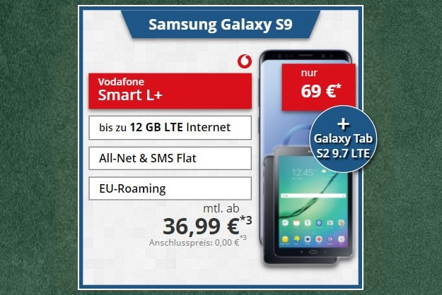 Samsung Galaxy S9 + Samsung Galaxy Tab S2 LTE 9.7 + Vodafone Smart L Plus bei Tophandy