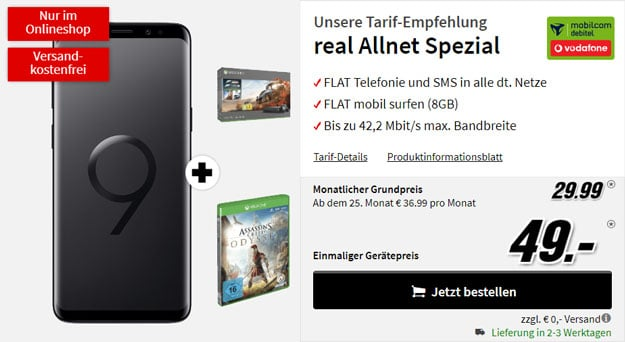 Samsung Galaxy S9 + Xbox One X Forza-Bundle + Assassins Creed Odyssey + Vodafone real Allnet (mobilcom-debitel) bei MediaMarkt