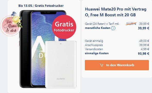 huawei mate 20 pro + o2 free m boost + fotodrucker