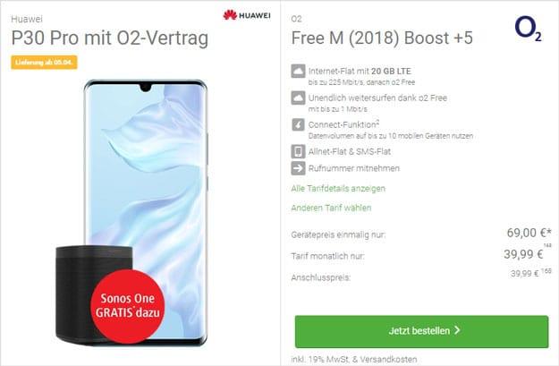 Huawei P30 Pro + Sonos One + o2 Free M Boost bei DeinHandy