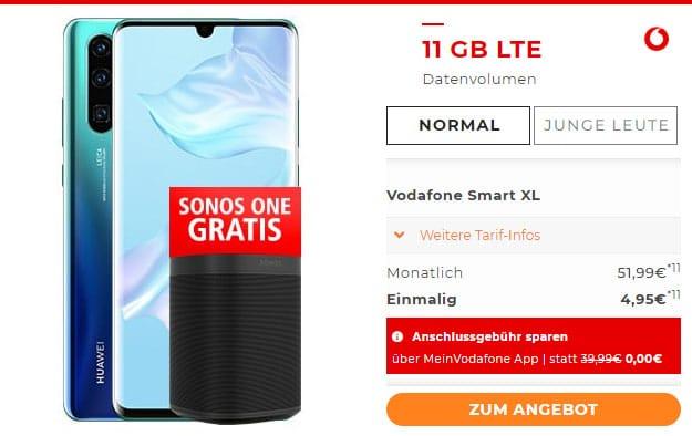 Huawei P30 Pro + Sonos ONE + Vodafone Smart XL bei Handyflash