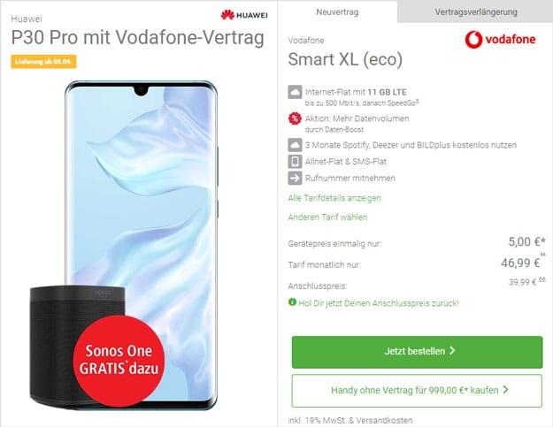 Huawei P30 Pro + Sonos One + Vodafone Smart XL bei DeinHandy