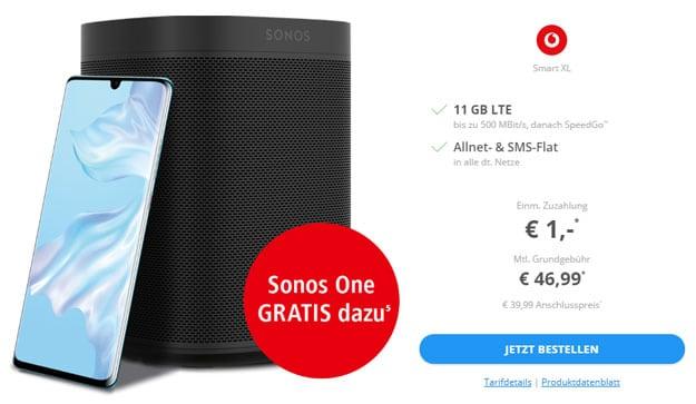 Huawei P30 Pro + Sonos One + Vodafone Smart XL bei Sparhandy