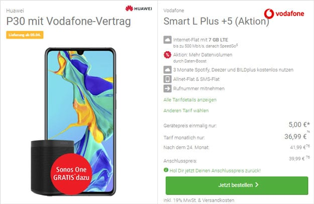 Huawei P30 + Vodafone Smart L Plus bei DeinHandy