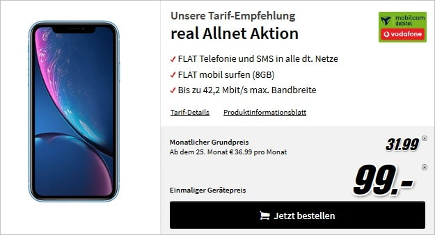 iPhone Xr + Vodafone real Allnet