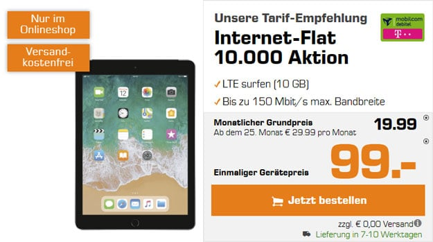 iPad 2018 LTE 32GB + mobilcom-debitel Internet-Flat 10.000 (Telekom-Netz) bei Saturn