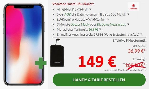 iPhone X + Intenso Slim S5000 Powerbank + Vodafone Smart L Plus bei Preisboerse24