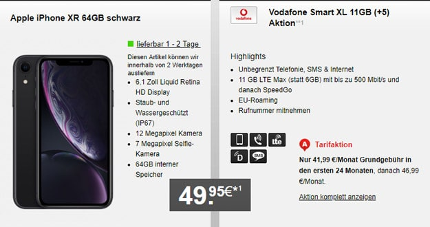 Apple iPhone Xr + Vodafone Smart XL mit Allnet-Flat und bis zu 17 GB LTE