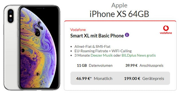 iPhone Xs + Vodafone Smart XL bei Preisboerse24