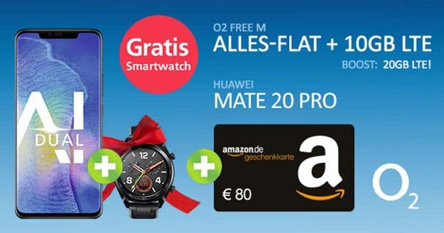 Huawei Mate 20 Pro + Huawei Watch GT Sport + o2 Free M als Handyhase Bonus-Deal