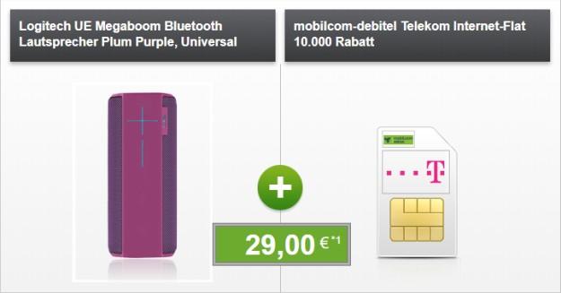 mobilcom-debitel Internet-Flat 10.000 (Telekom-Netz) + Ultimate Ears Megaboom (Plum Purple) bei modeo