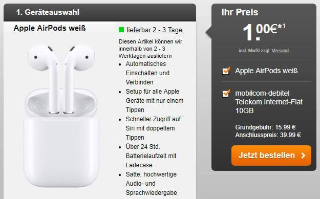 mobilcom-debitel Internet-Flat 10.000 (Telekom-Netz) + Apple AirPods bei Handyflash