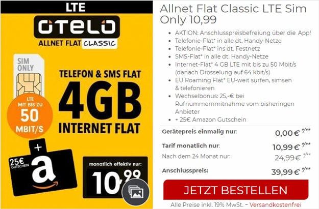 otelo ALlnet-Flat Classic LTE 50 bei CepNet