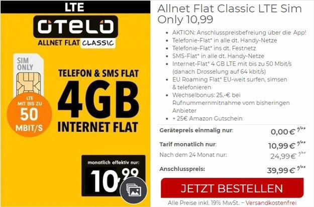 otelo Allnet-Flat Classic LTE 50 (SIM-only) bei CepNet