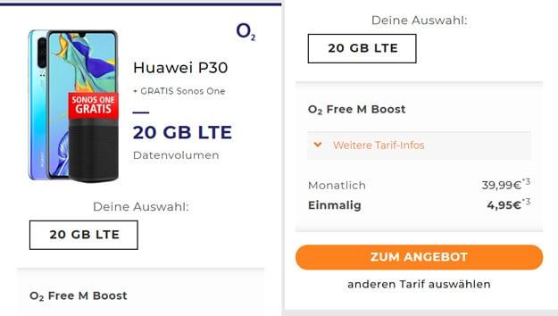 Huawei P30 + o2 Free M Boost