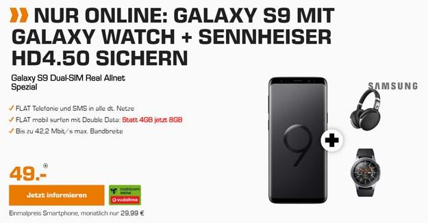 ZWEI Zugaben! Galaxy S9 / S9 Plus + Vodafone real Allnet (md) eff. kostenlos (Allnet- & SMS-Flat, 8 bis 10 GB) + bis 129 € Ersparnis