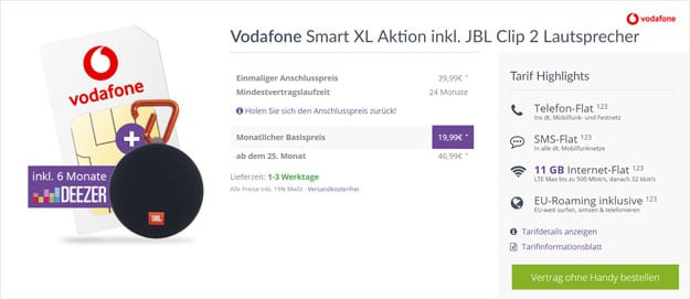 Vodafone Smart XL (SIM-only) + JBL Clip 2 bei FLYmobile