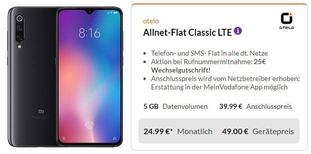Xiaomi Mi 9 + otelo Allnet-Flat Classic LTE 50 Bei Preisboerse24