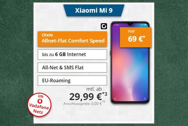 Xiaomi Mi 9 + otelo Allnet-Flat Comfort LTE 50 bei Tophandy