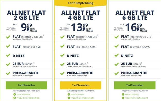 freenetmobile ALLNET FLAT mit halbierter Anschlussgebühr
