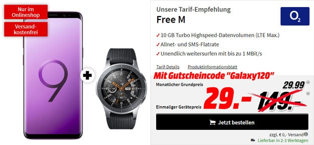 Samsung Galaxy S9 + Samsung Gear Sport + o2 Free M bei MediaMarkt