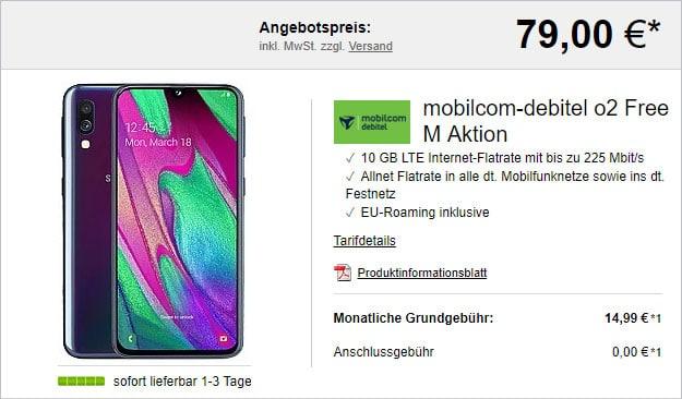 Samsung Galaxy A40 + mobilcom-debitel Free M (Telefónica-Netz) bei LogiTel