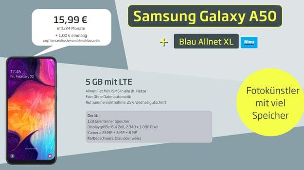 Samsung Galaxy A50 + Blau Allnet XL bei CURVED