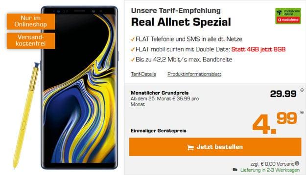 Samsung Galaxy Note 9 + Vodafone real Allnet (mobilcom-debitel) bei Saturn