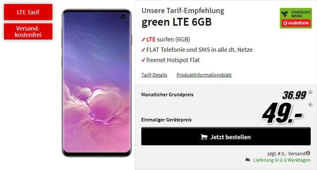 Samsung Galaxy S10 + mobilcom-debitel green LTE (Vodafone-Netz) bei MediaMarkt