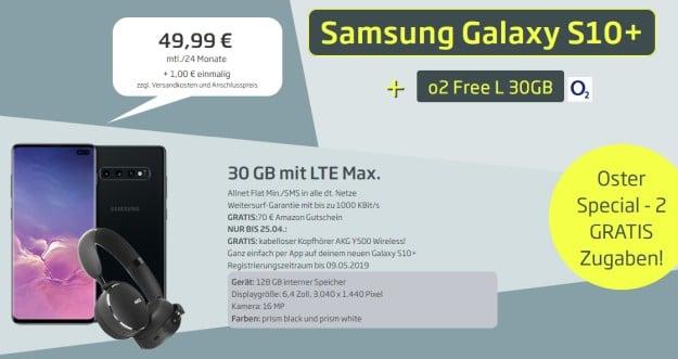 Samsung Galaxy S10 Plus + AKG Y500 Bluetooth-Headset + o2 Free L bei CURVED