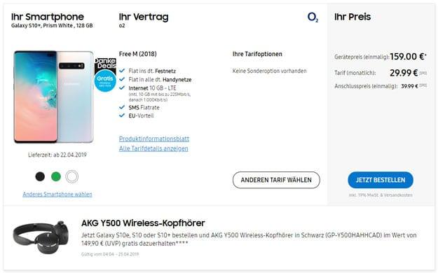 Samsung Galaxy S10 Plus + AKG Y500 BT-Headset o2 Free M bei Samsung